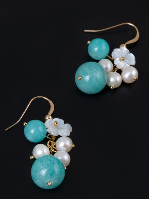 Christian Ethnic style Freshwater Pearls Shell Flower Stone Beads 925 Silver Earrings