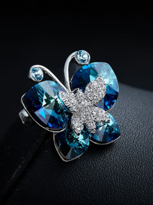 Maja Fashion Butterfly Blue Swarovski Crystals Brooch