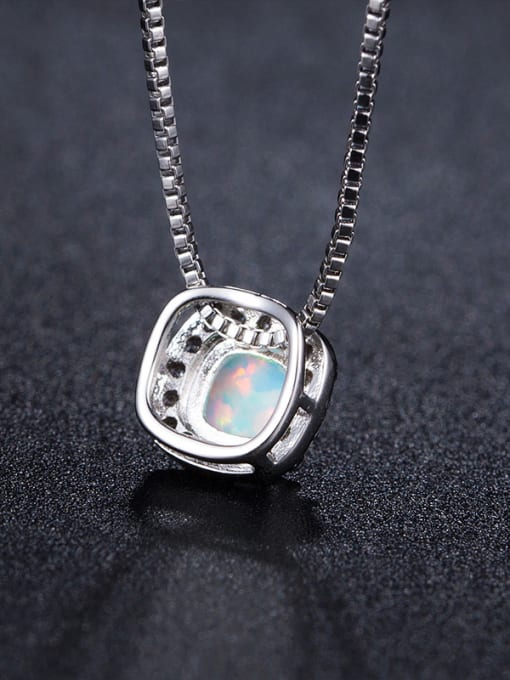 Chris Small Square Pendant White Gold Plated Necklace