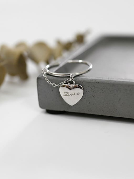 Arya Personalized Heart Short Chain Silver Opening Ring