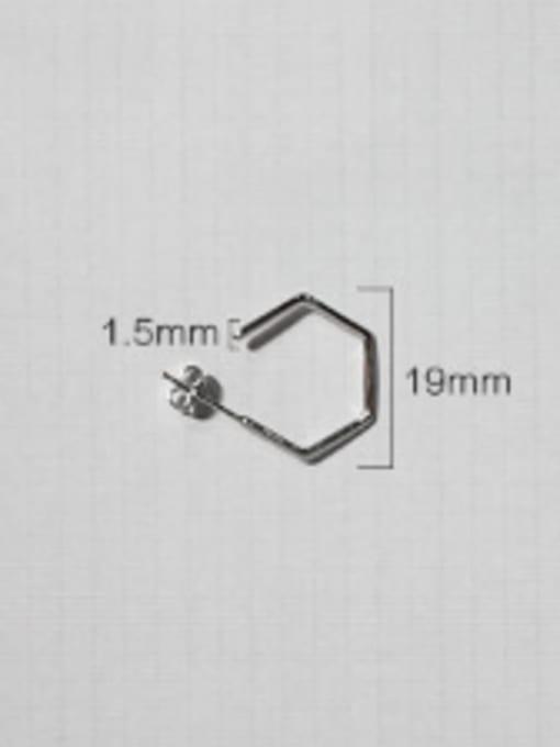 Arya Simple Hexagonal shaped Silver Stud Earrings