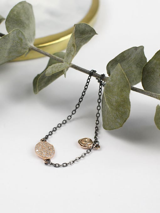 Arya Fashion Cubic Tiny Zirconias Gun Color Plated Silver Bracelet