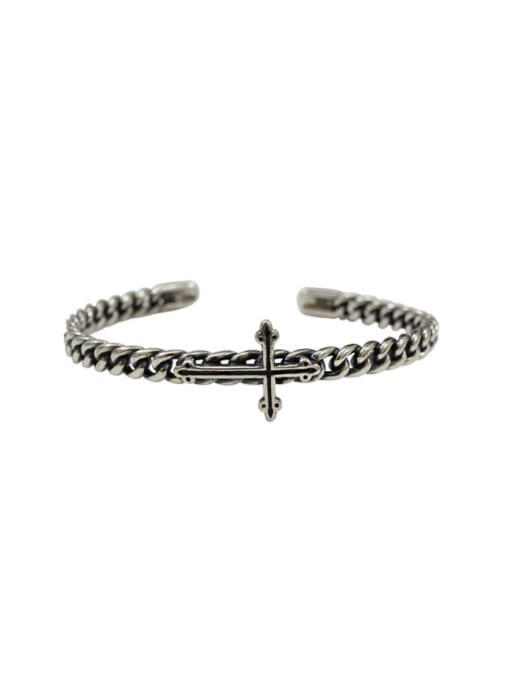 Arya Retro style Antique Silver Plated Cross Silver Opening Bangle