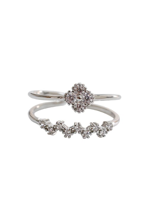 Arya Fashion Little Zircon-studded Flowers Silver Two-band Opening Ring
