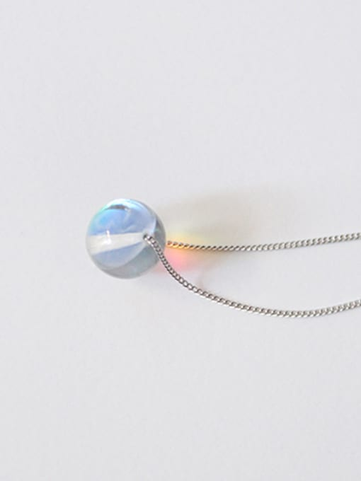 Arya Simple Clear Crystal Ball Pendant Silver Necklace