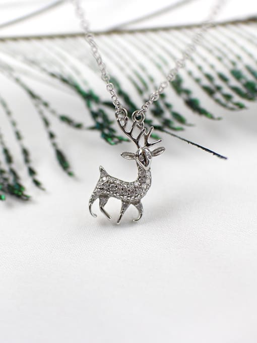 Arya Fashion Little Deer Tiny Zirconias Silver Necklace