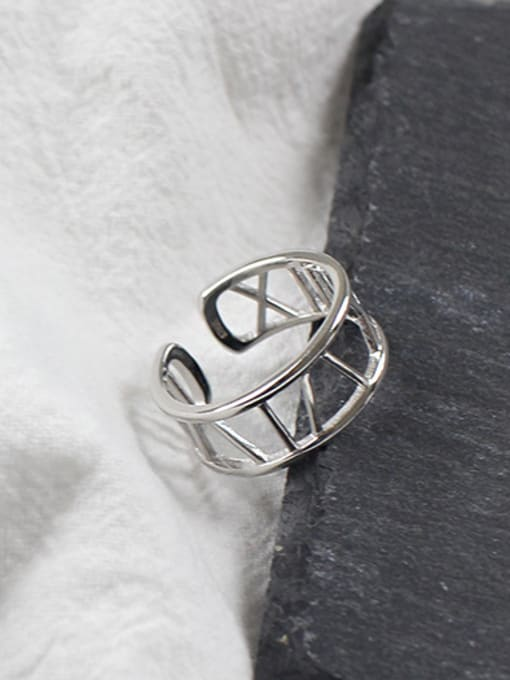Arya Simple Roman Numerals Two-band Opening Silver Ring