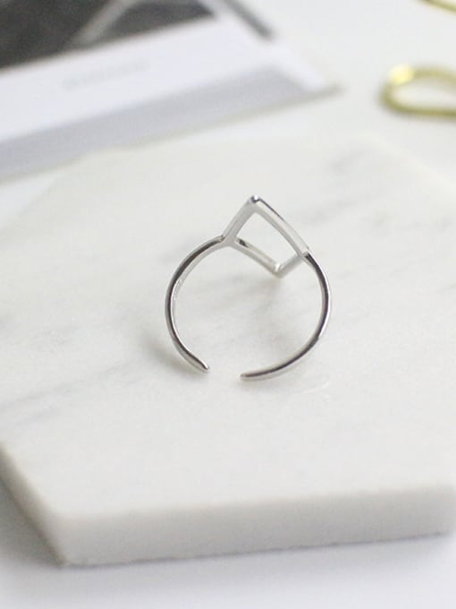 Arya Personalized Hollow Rhombus Silver Opening Ring