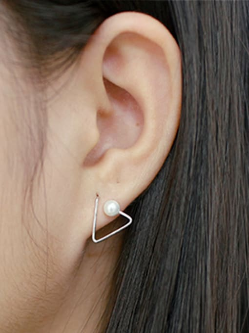 Arya Simple Artificial Pearl Hollow Opening Triangle Silver Stud Earrings