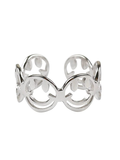 Arya Personalized Hollow Smiling Faces Silver Opening Ring