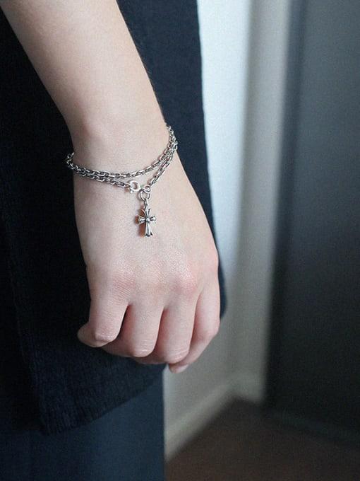 Arya Sterling silver retro cross chain bracelet