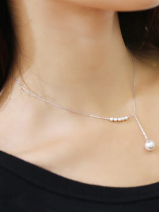 Arya Simple Artificial Pearls 925 Silver Necklace