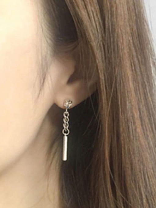 Arya Fashion Square Slim Bar Cubic Zircon Silver Stud Earrings