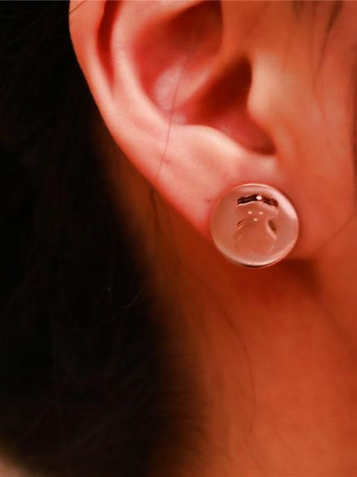 Rose Bear Pattern Women Stud Earrings