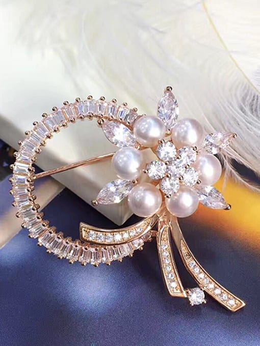 Evita Peroni Freshwater Pearl Flower shaped Brooch