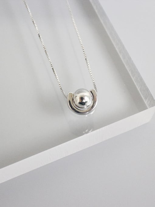 Arya Simple Smooth Bead Pendant Silver Necklace