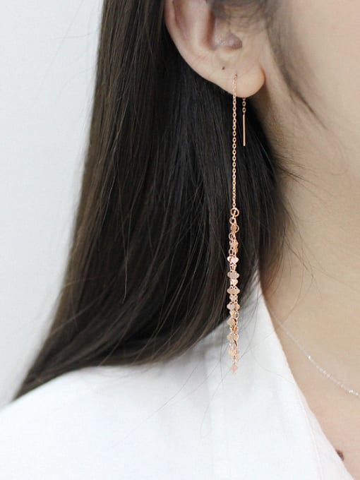 Arya Fashion Tiny Hearts Tassels Silver Line Earrings