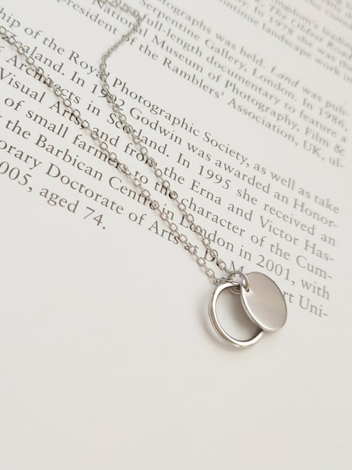 Jolie Silver 925 Sterling Silver With Platinum Plated Classic Round Necklaces