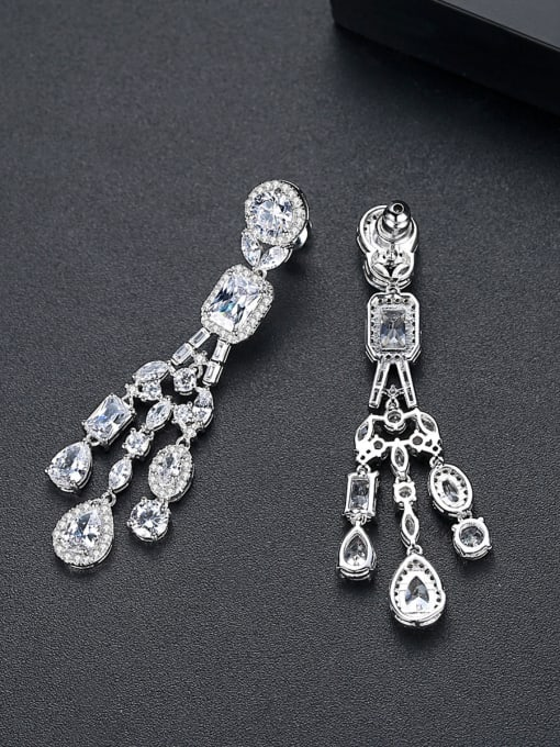 BLING SU Copper With Platinum Plated Delicate Cubic Zirconia Stud Earrings