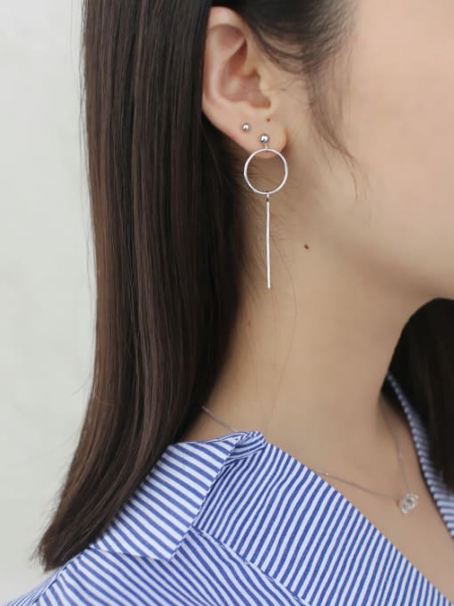 Arya Simple Asymmetrical Hollow Round Silver Drop Earrings