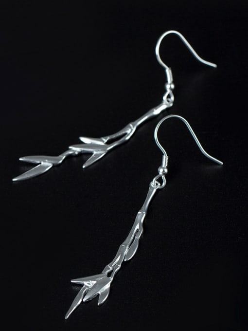 Christian Simple 925 Silver Bamboo Leaves Earrings