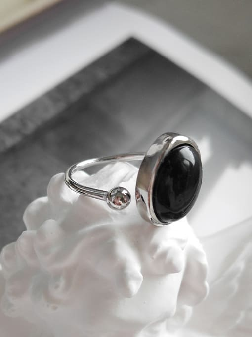 Jolie Silver Sterling Silver punk style Black Agate Ring
