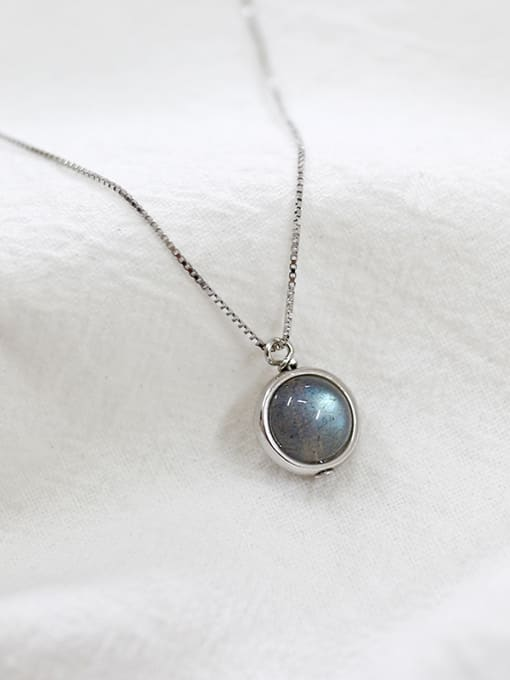 Arya Simple Round Stone Pendant Silver Necklace