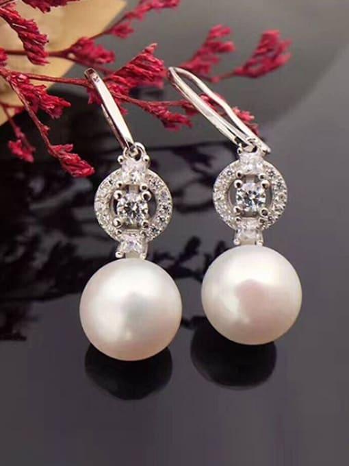 Evita Peroni Freshwater Pearl Zircon Round drop earring