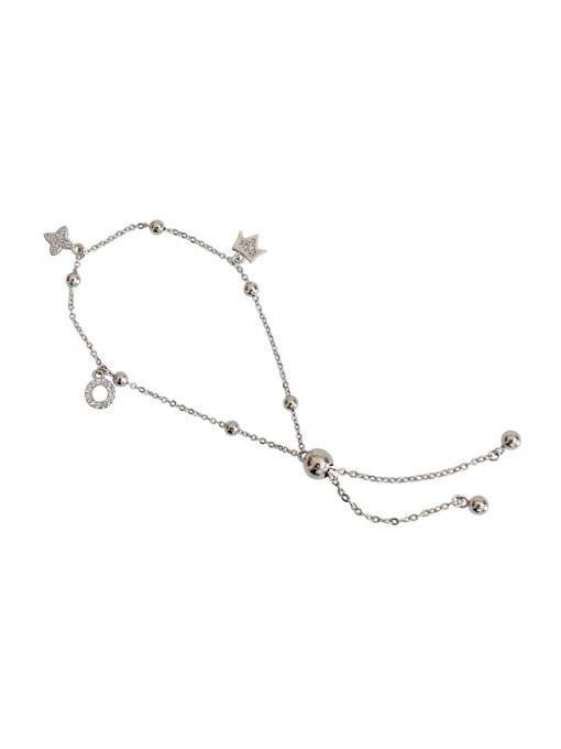 Arya Fashion Tiny Zirconias Adjustable Silver Bracelet