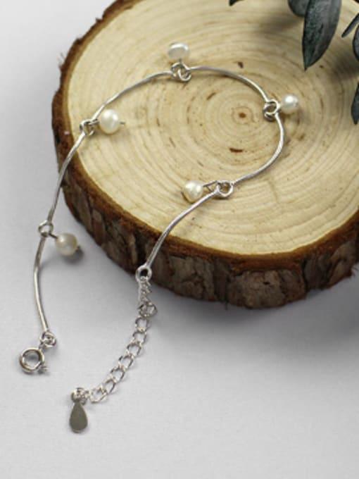 Arya Simple White Artificial Pearls Silver Bracelet