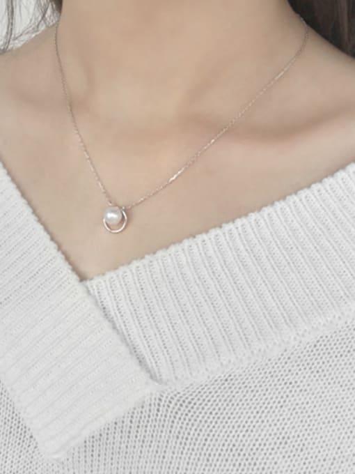 Arya Fashion White Freshwater Pearl Hollow Round Silver Necklace