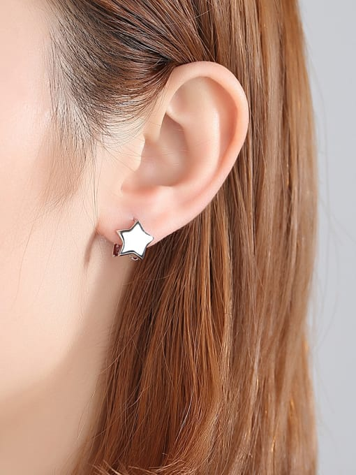 BLING SU Copper With 18k Gold Plated Casual Star Stud Earrings