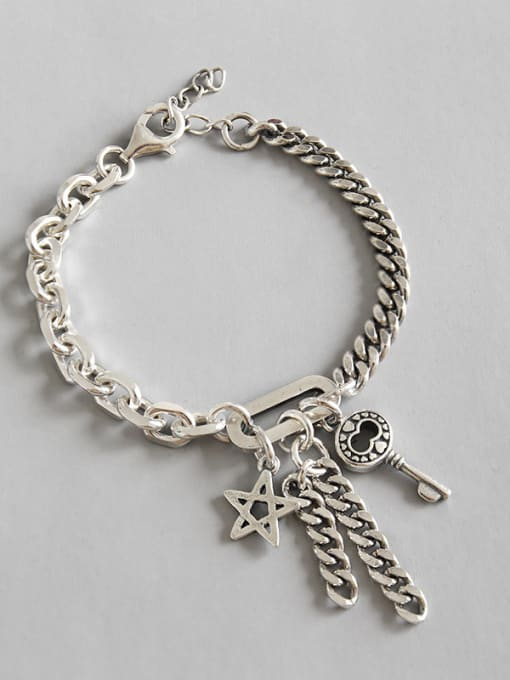 Arya Hand made Sterling Silver retro personality key five pointed Chain Bracelet