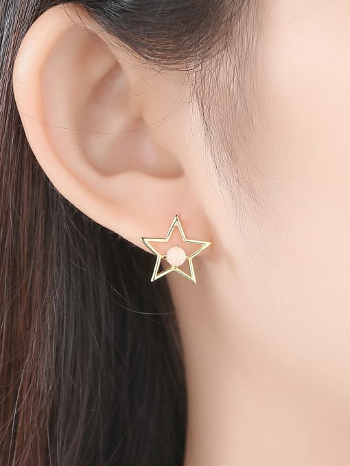 CCUI 925 Sterling Silver With multicolor Opal Cute Stars moon asymmetry Stud Earrings