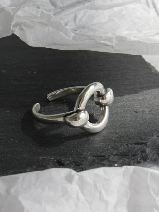 Ying 925 Sterling Silver With Antique Silver Plated Personality Geometric Free Size Rings