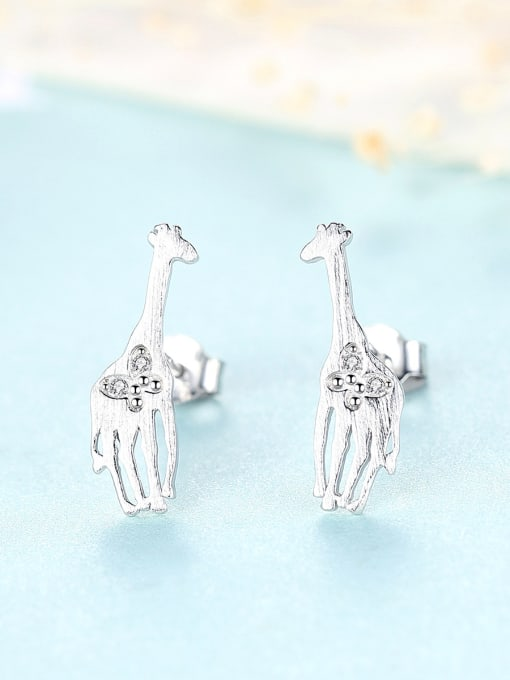 CCUI 925 Sterling Silver With Cubic Zirconia Cute Animal giraffe Stud Earrings