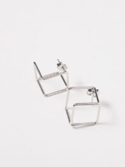 Arya Simple Hollow Cube Silver Smooth Stud Earrings