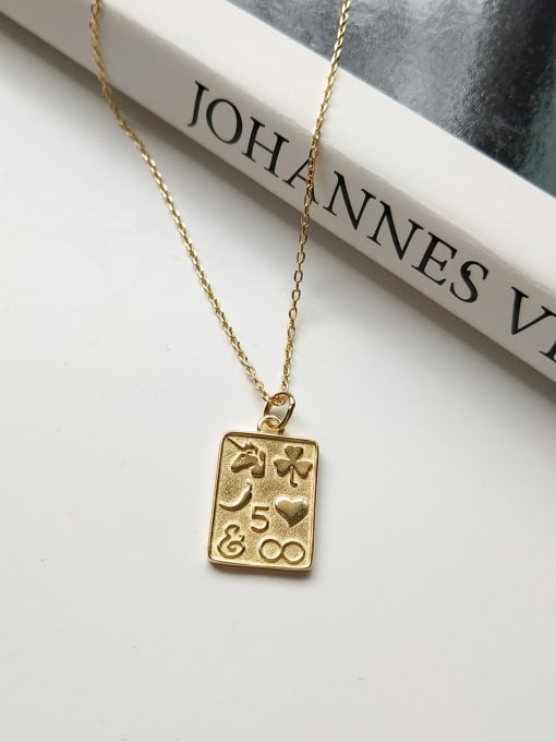 Jolie Silver Sterling Silver geometric love Square  Necklace