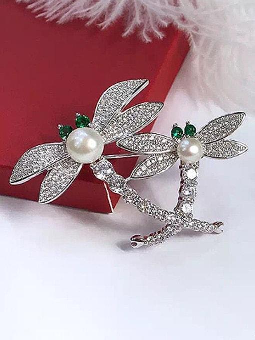 Evita Peroni Freshwater Pearl Dragonflies Zircon Brooch