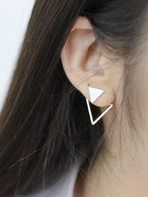 Arya Fashion Personalized Double Triangle Silver Stud Earrings