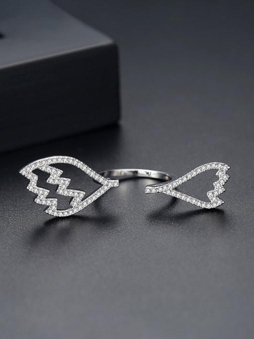 BLING SU Copper With Platinum Plated  Cubic Zirconia Fashion Statement Rings