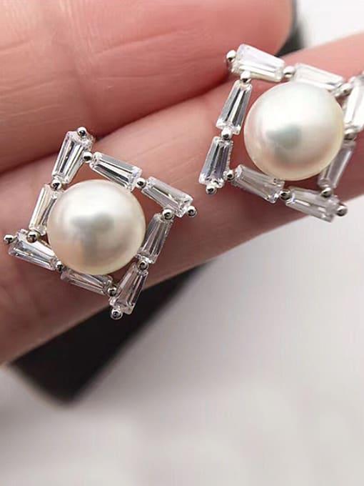 Evita Peroni Freshwater Pearl Square stud Earring