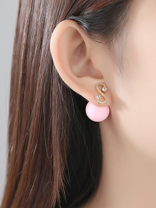 BLING SU Copper With 18k Gold Plated Trendy Ball Stud Earrings