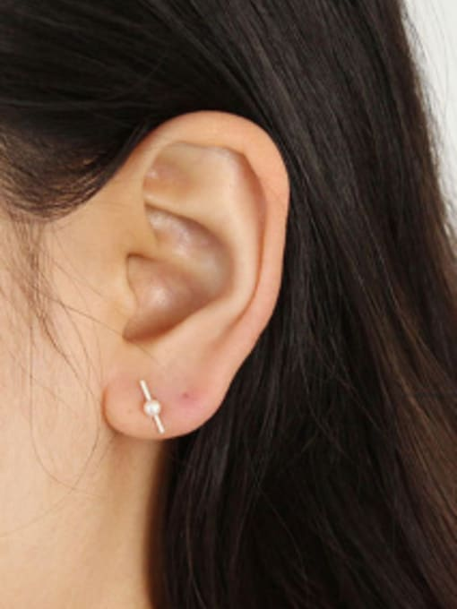 Arya Simple White Freshwater Pearl Silver Stud Earrings