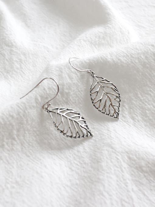 Arya Personalized Hollow Leaf Antique Silver Plated Earrings