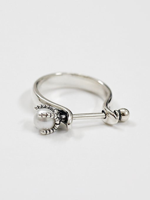 Arya Personalized Antique Silver Plated Artificial Pearl Ring