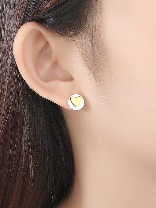 CCUI 925 Sterling Silver With Simple smooth  Heart-shaped Stud Earrings