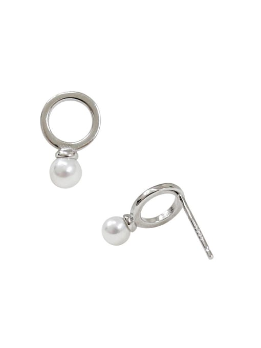 Arya Simple Hollow Round Artificial Pearl Silver Stud Earrings