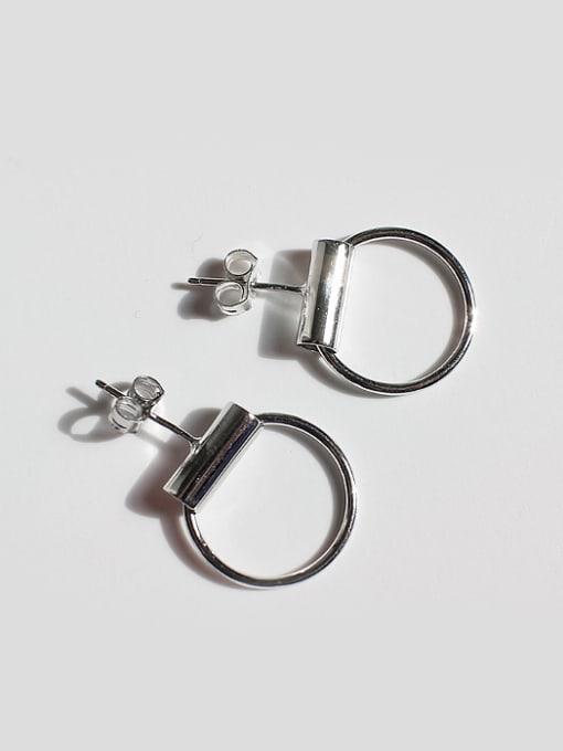 Arya Simple Hollow Round Silver Stud Earrings