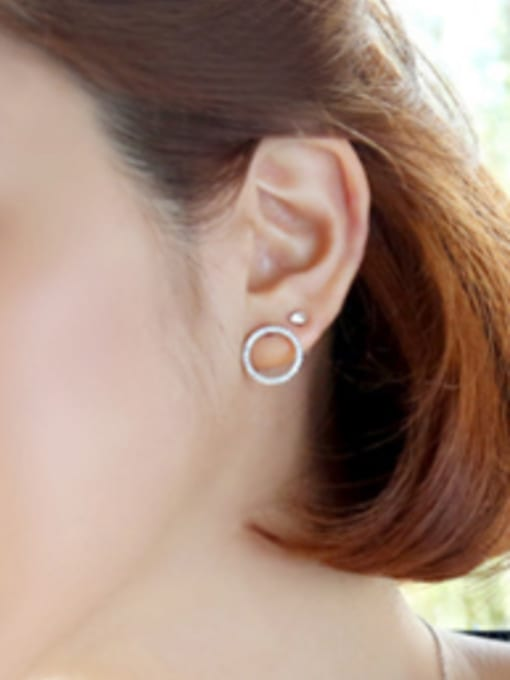 Arya Simple Tiny Zircon-studded Hollow Round Silver Stud Earrings